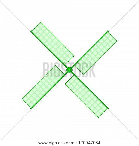 Wooden windmill in green design on white background