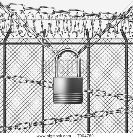 Silver Or Steel Fence With Barbed Wire