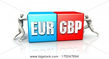 EUR GBP Currency Pair Fighting in Blue Red and White Background 3D Illustration Render