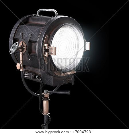 Vintage 3d Theater Spotlight or Movie Studio Light. Old Soffit Illustration Isolated on Black Background