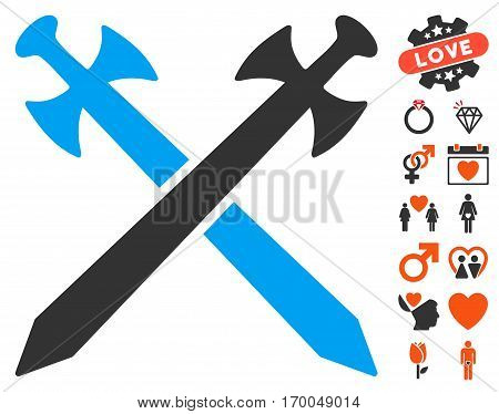 Medieval Swords icon with bonus marriage pictograph collection. Vector illustration style is flat iconic elements for web design app user interfaces.