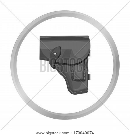 Army handgun holster icon in monochrome style isolated on white background. Military and army symbol vector illustration