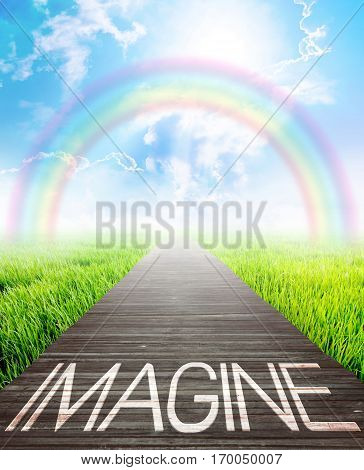 Wooden bridge and landscape background with imagine words Business concept photo.