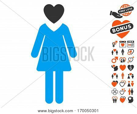 Mistress pictograph with bonus romantic pictures. Vector illustration style is flat iconic symbols for web design app user interfaces.