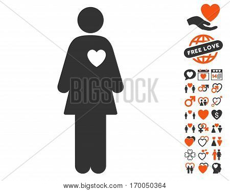 Mistress icon with bonus valentine pictograms. Vector illustration style is flat iconic elements for web design app user interfaces.