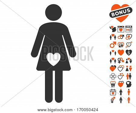 Mistress icon with bonus dating pictograms. Vector illustration style is flat iconic elements for web design app user interfaces.
