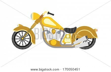 Motorcycle motorbike flat vector . Speed motorcycle. Vector Illustration. Isolated on white.
