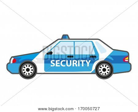 Security patrol car icon. Vector sign auto for safety or help. Sheriff or police, cop automobile with siren. Flat style illustration isolated on white background.