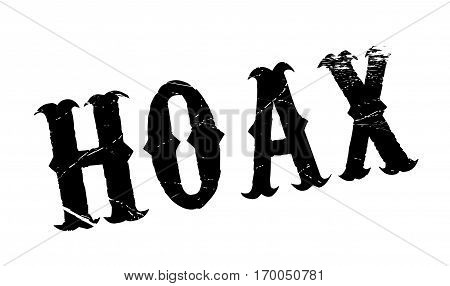 Hoax rubber stamp. Grunge design with dust scratches. Effects can be easily removed for a clean, crisp look. Color is easily changed.