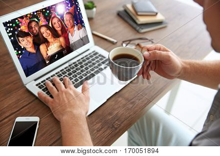 Video call and chat concept. Modern communication technology. Man video conferencing on laptop.