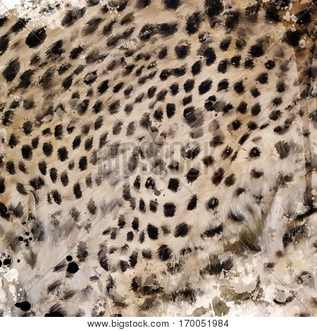 Digital Painting of Leopard Fur Background