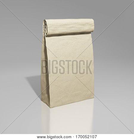 Blank paper bag. 3D illustration.