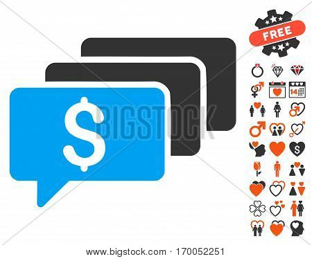 Money Messages icon with bonus decorative graphic icons. Vector illustration style is flat iconic symbols for web design app user interfaces.