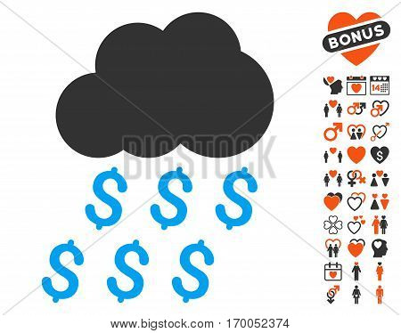 Money Rain icon with bonus dating pictograph collection. Vector illustration style is flat iconic elements for web design app user interfaces.