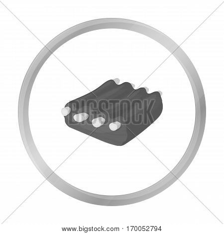 Pork ribs icon in monochrome style isolated on white background. Meats symbol stock vector illustration