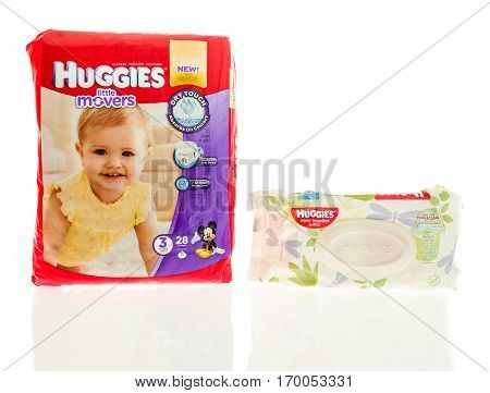 Winneconne WI -9 February 2017: Huggies little movers diapers with wipes on an isolated background.
