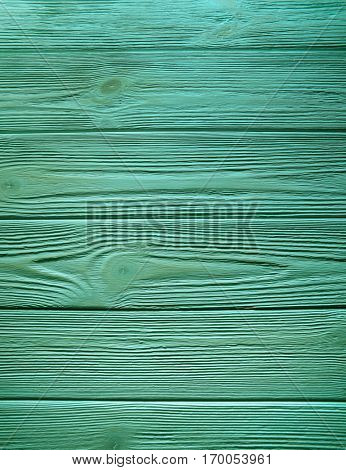 Green Natural  Wooden Plank Desk Background. Top View. Copy Space