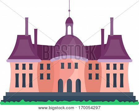 Cartoon fairy tale castle tower icon. Cute architecture vector illustration fantasy house fairytale medieval. Isolated