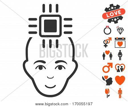 Neural Computer Interface icon with bonus marriage icon set. Vector illustration style is flat iconic elements for web design app user interfaces.