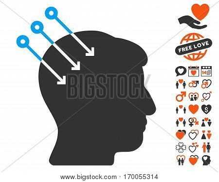 Neural Interface Connectors icon with bonus passion pictures. Vector illustration style is flat iconic symbols for web design app user interfaces.