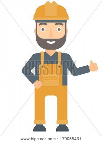 Young hipster builder in hard hat giving thumb up. Smiling builder with thumb up. Caucasian builder in overalls and helmet giving thumb up. Vector flat design illustration isolated on white background