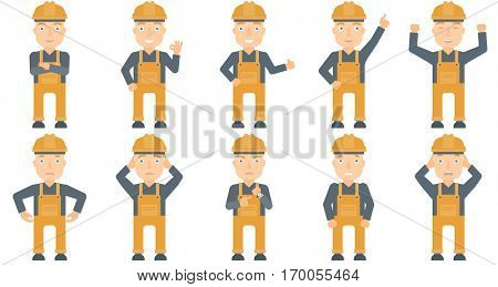 Caucasian young builder standing with arms crossed. Confident builder in hard hat. Builder in overalls standing with folded arms. Set of vector flat design illustrations isolated on white background.