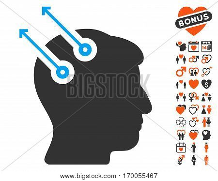Neural Interface Plugs pictograph with bonus decorative pictograms. Vector illustration style is flat iconic elements for web design app user interfaces.