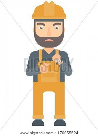 Angry caucasian constructor pointing at wrist watch. Constructor pointing at watches and time. Concept of deadline of construction works. Vector flat design illustration isolated on white background.