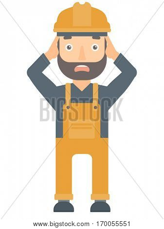 Stressed engineer in hard hat. Overworked engineer feeling stress from work. Stressful engineer clutching his head. Stress at work concept. Vector flat design illustration isolated on white background