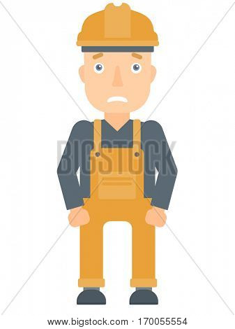 Scared industrial worker in hard hat. Scared industrial worker having problems at work. Scared builder industrial worker looks terrified. Vector flat design illustration isolated on white background.