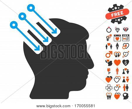 Neuro Interface icon with bonus decoration pictograph collection. Vector illustration style is flat iconic symbols for web design app user interfaces.