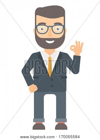 Caucasian smiling businessman showing ok sign. Hipster cheerful businessman making ok sign. Successful happy businessman gesturing ok sign. Vector flat design illustration isolated on white background