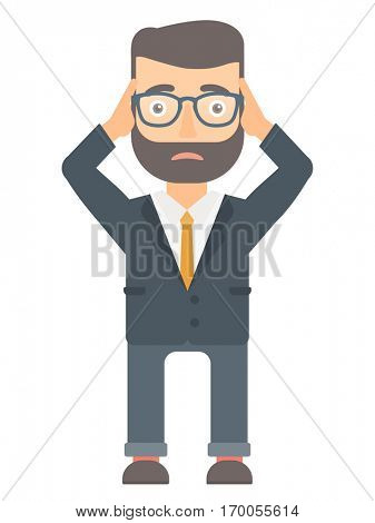 Caucasian hipster bankrupt businessman clutching his head. Worried bankrupt businessman grabs his head. Concept of business bankruptcy. Vector flat design illustration isolated on white background.