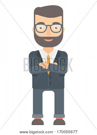 Caucasian businessman standing with arms crossed. Confident businessman with folded arms. Hipster businessman standing with folded arms. Vector flat design illustration isolated on white background.