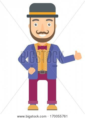 Hipster caucasian circus actor in bowler hat giving thumb up. Smiling circus actor with thumb up. Cheerful circus actor showing thumb up. Vector flat design illustration isolated on white background