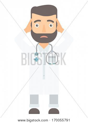 Caucasian doctor clutching his head. Doctor with stethoscope holding his head. Stressed doctor in white coat keeping hands on his head. Vector flat design illustration isolated on white background.
