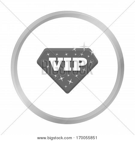 VIP icon in monochrome style isolated on white background. Label symbol vector illustration.