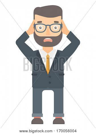Stressed office worker. Hipster businessman feeling stress from work. Stressful employee clutching his head. Stress at work concept. Vector flat design illustration isolated on white background.