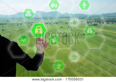 iot internet of things(agriculture concept)smart farmingindustrial agriculture.Farmer use the finger unlock the key and access to the system for controlmanagement and monitor the field