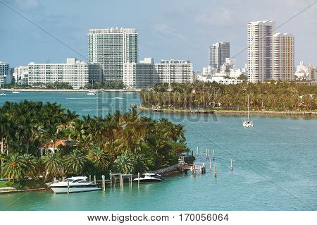 Skyline of Miami city at sunny day time. Pamorama of miami bay. Travel to Miami