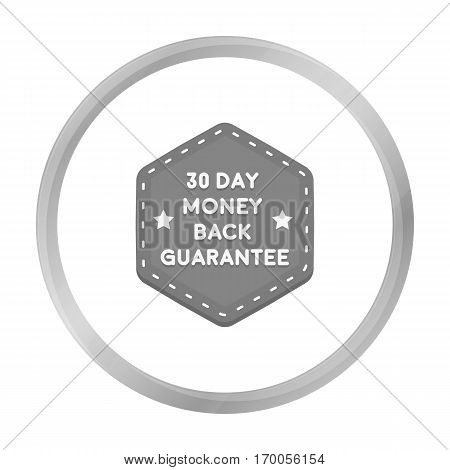 Money back guarantee icon in monochrome style isolated on white background. Label symbol vector illustration.