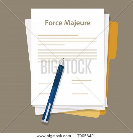 force majeure clause included in contracts to remove liability for unavoidable catastrophes that restrict participants from fulfilling obligations vector
