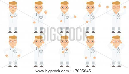Caucasian broke doctor showing his empty pockets. Doctor turning empty pockets inside out. Poor doctor pulling out empty pocket. Set of vector flat design illustrations isolated on white background.