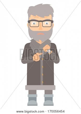 Angry north man pointing at watches. Annoyed hipster north man with beard pointing at watches and time. Anxious north man checking time. Vector flat design illustration isolated on white background.