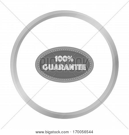 Guarantee label icon in monochrome style isolated on white background. Label symbol vector illustration.