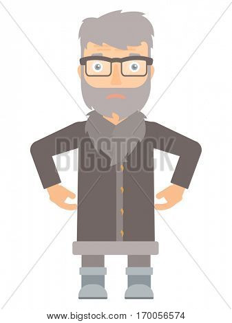 Disappointed hipster north man with the beard standing with arms on his thighs. Upset north man wearing warm winter clothing. Vector flat design illustration isolated on white background.