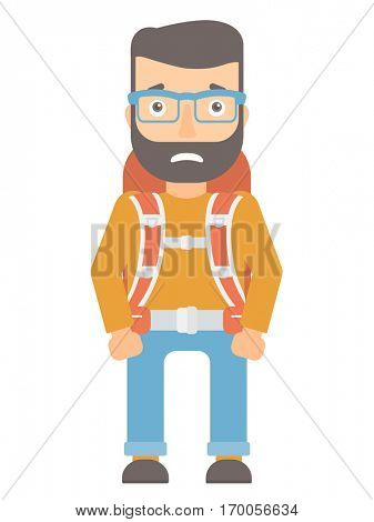 Caucasian hipster tourist with beard feeling embarrassment. Embarrassed young tourist with backpack. Tourist expressing embarrassment. Vector flat design illustration isolated on white background.