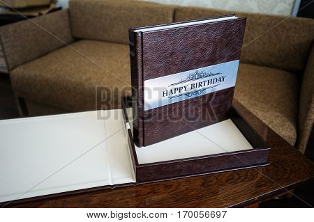 natural leather classic wedding photobook and album