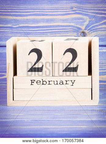 February 22Th. Date Of 22 February On Wooden Cube Calendar