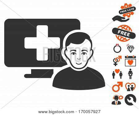 Online Medicine pictograph with bonus lovely symbols. Vector illustration style is flat iconic symbols for web design app user interfaces.